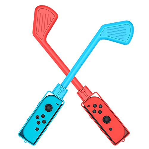 Golf Club for Mario Golf: Super Rush, Golf Clubs Controller Compatible with Nintendo Switch Game Mario Golf,Golf Game Accessories Joy Con Controller Grip for Switch Joy Con with Adjustable Wrist Strap