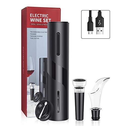 Abrebotellas de vino eléctrico, juego de sacacorchos automático de regalo con cortador de papel de aluminio, tapón de vino, vertedor de vino