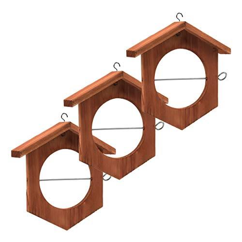 Gardigo Apfel Futterstation 3er Set I Meisenknödelhalter zum Aufhängen I Futterstation, Futterhalter für Wildvögell