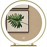 BAIHAO Espejo de Mesa con luz LED e Interruptor táctil Marco de Metal Dorado Espejo de Maquillaje Espejo de tocador Redondo para baño Dormitorio Sala de Estar