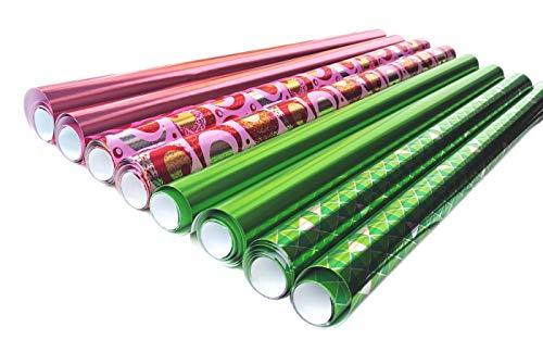 Edel Premium Metallic Glänzendes Geschenkpapier Verpackung für Geschenk Geburtstag Hochzeit Geschenkpapier Geschenkverpackung 8 Rollen Set in Grün Pink Design Rolle je 70 cm x 2 m
