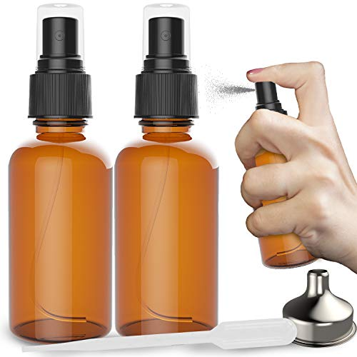 2 Pack Amber Glass Spray Bottles 2oz - the Perfect Spray - Small Empty Bottles For Cleaning Solutions, Plants, Essential Oils, Bleach, Alcohol - Best Refillable Fine Mist Spray Pack Perfume Atomizer