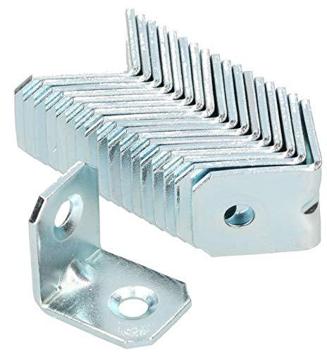KOTARBAU Winkelverbinder 20 x 20 x 16 mm Sicke Stahl Bauwinkel Montagelöcher Möbelwinkel Verzinkt Schwerlast Holzverbinder Montagewinkel Stuhlwinkel (100)