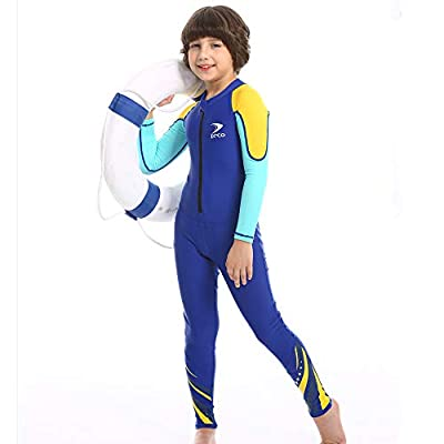 ZCCO Kids Swimsuit, Full Body Sunsuit, Youth Boy's and Girl's One Piece Water Suit Long Sleeve Rush Guard for Swimming,Bathing, Surfing