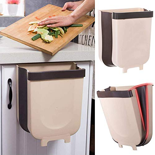 Hanging Trash Can for Kitchen Cabinet Door, LALASTAR Small Collapsible Under Sink Garbage Can for RV Car, Wall Mounted Waste Bin,...