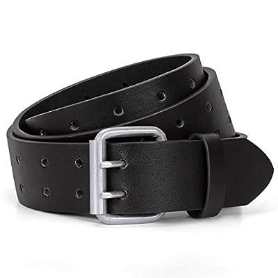 JASGOOD Men Double Prong Belt,Black Work PU Leather Belts for Men Jeans-Casual Belts for Women for Dresses(Black,Fit pant size below 45Inch)