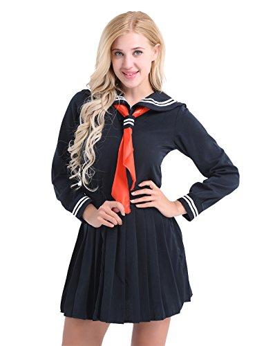 iixpin Damen Japanisch Einheitliche Langarm Schuluniform Sailor uniform Halloween Karneval Cosplay Kostüm Gr.S-XXL Dunkel Marine Medium