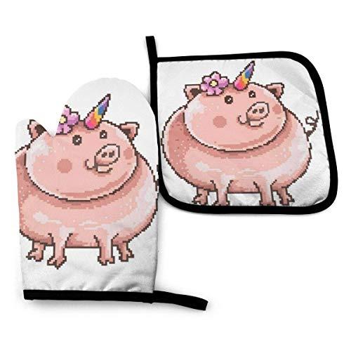 mjmhvfhtgdcgdcx Pigcorn Schwein Einhorn Pixel Art – Ofenhandschuhe und Topflappen, hitzebeständig, Küchenhandschuhe