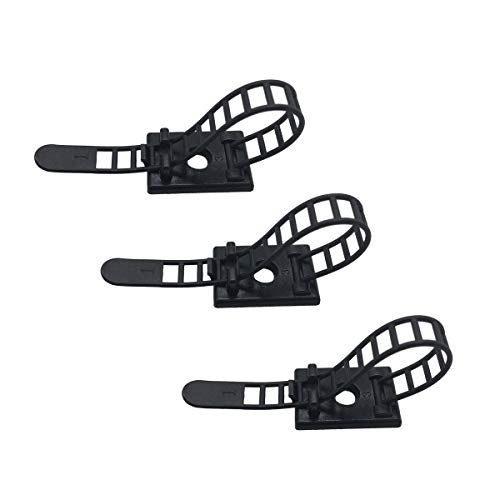 25 Pieces Cord Management Cable Ties Adhesive Cable Organizer Cable Clips Ties with Optional Screw Mount Cord Fasteners Clamps