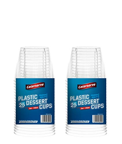 Caterserve Crystal Clear Hard Plastic Dessert Cups Multi-Use tumblers 5oz-145ml (50 Pcs)