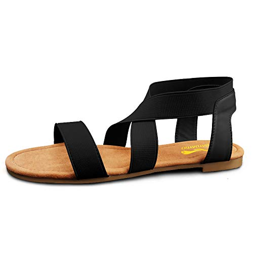 DAYDAYGO Sandals for Women │ Cute Comfortable Flat Sandals with Elastic Strap│Durable Slip On Womens Sandals Clearance│Ladies Boho Cushion Shoes for Summer Fashion Casual (Ankle Black, Size 7)