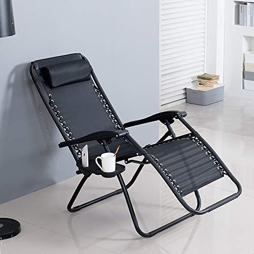 JYDHBDA Silla plegable al aire libre, tumbona de jardín con taza y soporte para teléfono, silla reclinable plegable de gravedad cero para jardín y camping al aire libre (negro)