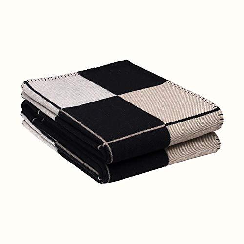 ZL Baumwolle Soft Thick Knitted Throw/Decke North Nordic Pattern Wool, (130 X 180 cm) Für Schlafsofa Couch Sofa Sessel/Warm Lambswool Plaid/Tagesdecke,Schwarz