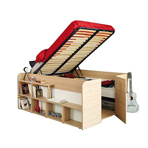 Funktionsbett Aaliyah 140 * 200 cm Baltimore Eiche inkl Lattenrahmen mit Hydraulik GS-geprüft + Schubladen + Regal Kinder Jugendzimmer Stauraum