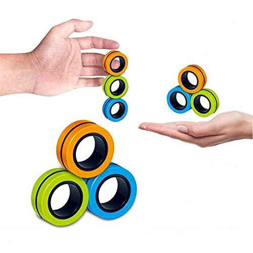 Anillo Dedo Magnético,9 Piezas Ideales Mini Anillos Magnéticos Antiestrés Toy,Adultos Finger Hand Spinner Descompresión Juguetes Para Alivio Del Estrés, Tdah, Ansiedad y Autismo