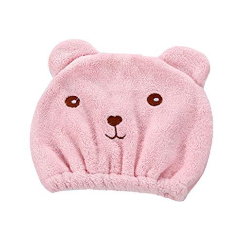 Schöne Tier Cartoon Bad Haare trocken Hut Duschhaube stark absorbierend schnell trocknend Kopf Handtuch Mütze Hut zum Baden-rosa