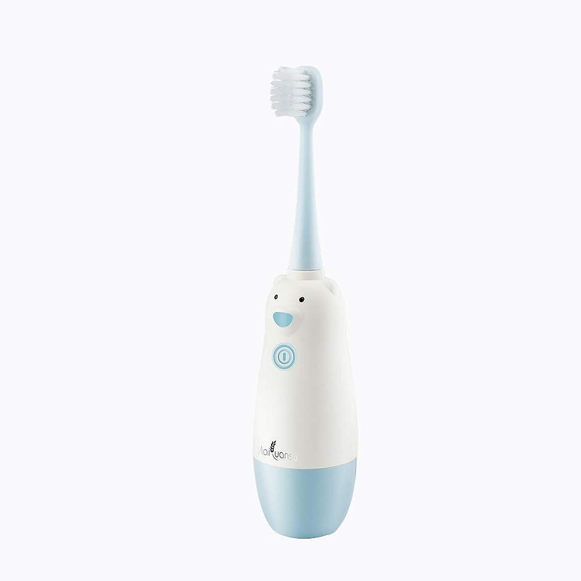 きしむ地中海出撃者子供の電動歯ブラシ、防水赤ちゃん子供赤ちゃん幼児柔らかい髪自動歯ブラシ歯科ギフト,Blue
