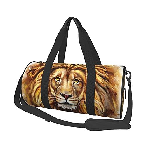 MBNGDDS - Borsone da viaggio con testa di leone, leggero, pieghevole, impermeabile, con tracolla, borsa sportiva da palestra per uomini e donne, Come mostrato, Taglia unica,