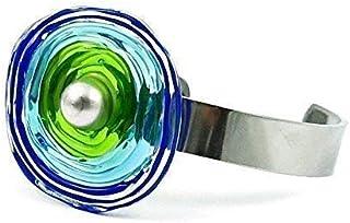 Edelstahl-Armreif mit blau-grüner Scheibe aus Murano-Glas   Glas-Wechsel-Schmuck   Unikat handmade handgemacht   Personali...