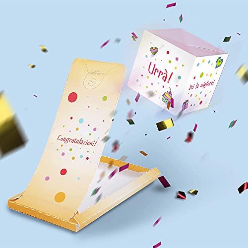 «BOOM!» Biglietti d'auguri Congratulazioni - Carta con sorpresa esplosiva Biglietto di Auguri una Cartolina a Forma di Cubo Pop up Dalla Busta - Regali Divertenti 1 cube