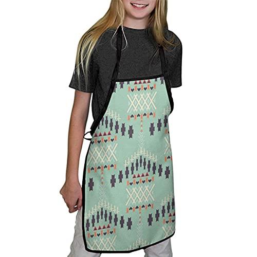 Lawenp Delantales para niños Delantales étnicos sin Costuras con Motivos geométricos Aztecas para niños, niñas para niños, Delantales de Chef de Cocina para cocinar, Hornear, Pintar y Fiestas
