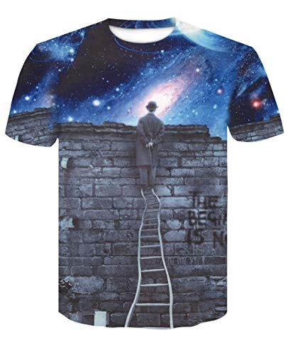 Heren 3D Printed Tops Tees Trend T-shirt met korte mouwen Grappige Jongens Mannen T-shirt met korte mouwen Top Tee Blouse Galaxy Ladder Tops Shirts Perfect als nieuwigheid vakantie en verjaardag geschenken
