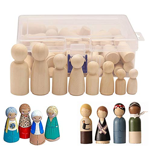 Gobesty Figuren Holzfiguren, 50 Stück DIY Holzfiguren Puppen,Humanoide Marionette Kinderspielzeug Männlich und Weiblich Puppe Spielzeug Basteln Kunsthandwerk, 4 Größe