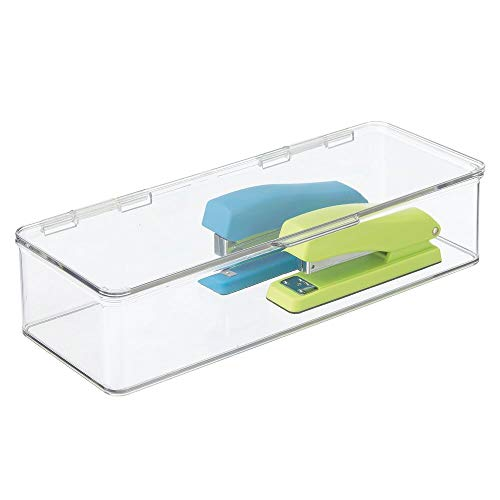 mDesign Long Plastic Stackable Box Home, Office Supplies Storage Organizer Box with Attached Hinged Lid - Holder for Note Pads, Gel Pens, Staples, Dry Erase Markers, Tape - 3' High - Clear