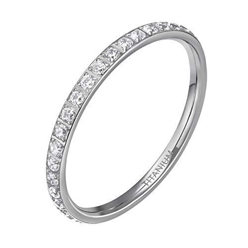 Mabohity Ring Damen 2mm Titan-Ring mit Zirkonia Titanium Ewigkeit Ehering Verlobungsring Freundschaftsring Hochzeit Ringe, Silber, Größe 52