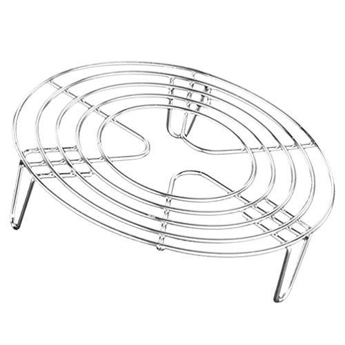 Hemoton Soporte para ollas de acero inoxidable para cocinar al vapor con cremallera y olla a presión para usos pesados, rejilla de vapor y cesta de refrigeración redonda para huevos