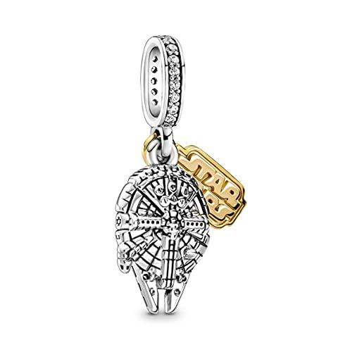 Pandora Star Wars Millennium Falcon Charm-Anhänger in Sterling-Silber und 14 Karat vergoldete Metalllegierung und Zirkoniasteinen aus der Pandora Moments Collection