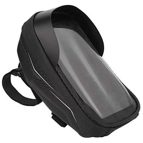 Ueohitsct Bolsa de manillar de carcasa dura para teléfono móvil con huellas dactilares impermeable bolsa de bicicleta de montaña (bolsa de bicicleta negra)