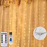 LED Lichtervorhang 3m x 3m, Etmury 300 LEDs USB Lichterkettenvorhang Wasserfest mit Fernbedien 8 Modi Lichterkette Gardine für Party Schlafzimmer Innenbeleuchtung Weihnachten Außen/Innen Deko Warmweiß