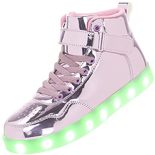APTESOL Kinder LED Schuhe High-Top Licht Blinkt Sneaker USB Aufladen Shoes für Jungen und Mädchen [Spiegel Rosa,32]