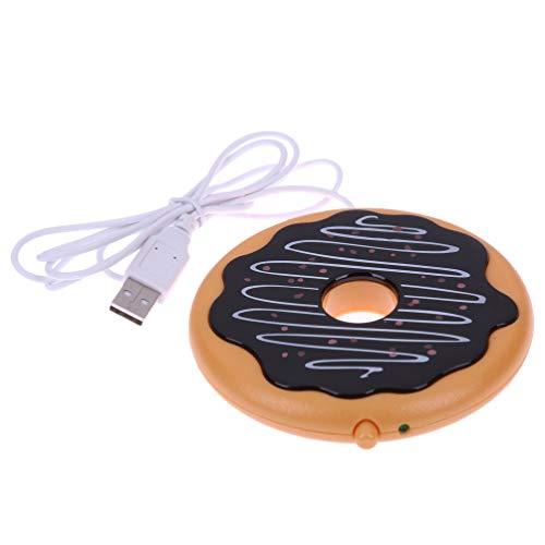 Cabilock USB-Beheizte Kaffeetasse Wärmer Donut-Untersetzer für Den Home-Office-Schreibtisch(Gelber Kaffee)