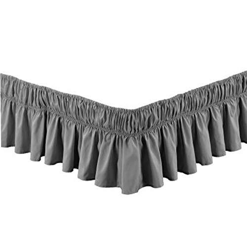 Bett Blatt 140x190/180x200/200x200 Staubdicht Bettrock Bettrock mit Rüschen Elastische Bett Wrap Ruffle Bett Rock Bettröcke Bettvolant Staub-Rüschen Bett-Rock (Color : D, Size : 180CMX200CM+38CM)