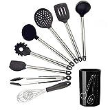 FDSK Premium Silikon Küchengeräte (Set von 9) zum Kochen und Backen in Schwarz und gebürstetem...