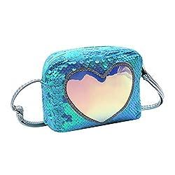 Blue & Green Sequins Crossbody Heart-shaped Shoulder Handbag