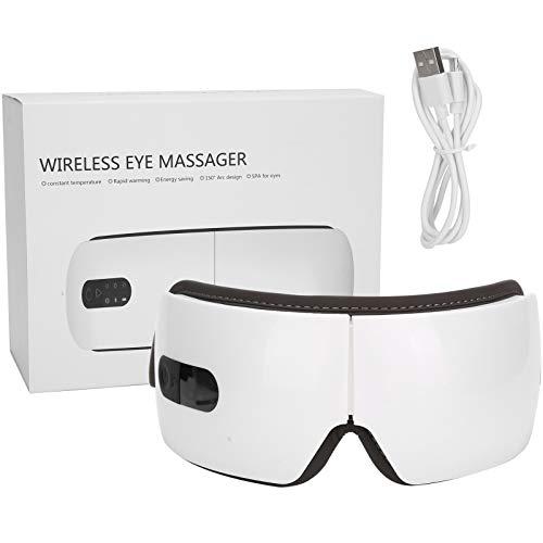 Masajeador de ojos eléctrico para aliviar la fatiga, masaje con Bluetooth Mascarilla para los ojos Función de calor por vibración Música Terapia ocular para aliviar la fatiga ocular Mejora