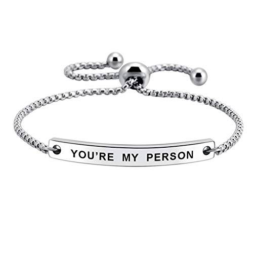 SOUSYOKYOSAM You're My Person Hand Stamped Cuff Bangle Best Friend Positive Bracelet Gift for Family Lover