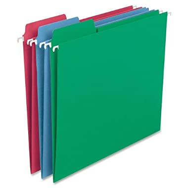 Smead FasTab Hanging File Folder, 1/3-Cut Built-in Tab, Letter Size, Assorted Colors, 18 per Box (64053)