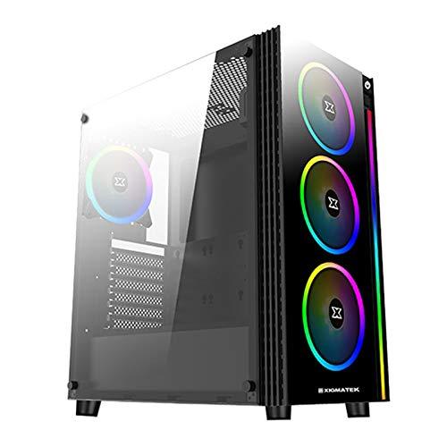 Xigmatek Poseidon ARGB - ATX – Caja PC Gaming – Panel Lateral y Frontal de Vidrio Templado y 4 Ventiladores RGB de 120 mm con Controlador Remoto – Caja de Ordenador