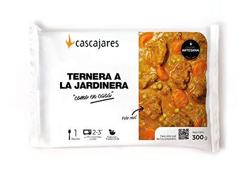 """CASCAJARES - Guiso de Ternera en salsa Jardinera """"como en casa"""" - un sabroso guiso listo para comer con tres minutos de microondas. Sin gluten ni lactosa, una ración y dos meses de caducidad."""