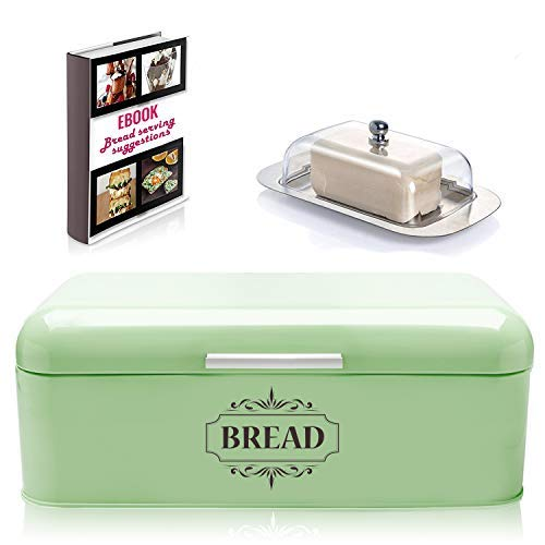 "Vintage Bread Box For Kitchen Stainless Steel Metal in Retro Green + FREE Butter Dish + FREE Bread Serving Suggestions eBook 16.5"" x 9"" x 6.5"" Large Bread Bin storage by All-Green Products"