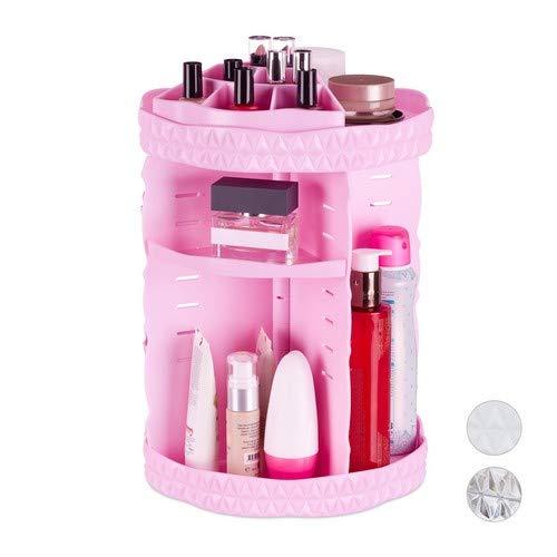 Relaxdays Make Up Organizer, 360 ° draaibaar, acryl, instelbare cosmetica-organizer, nagellak- & penseelhouder, roze