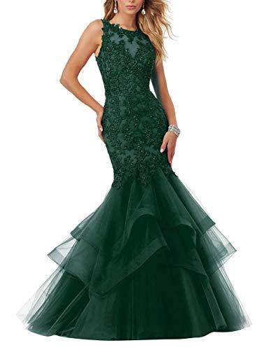 HUINI Abendkleider Vintag Meerjungfrau Brautkleider Spitzen Prinzessin Ballkleider Hochzeitskleider Standesamtkleid Grün 42
