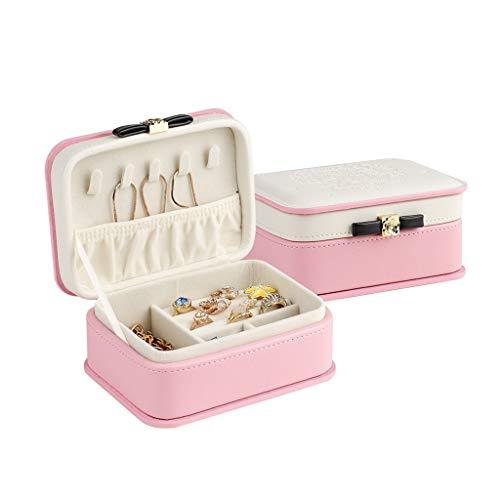 Bandeja organizadora de joyas Cajas para joyas de la hebilla del metal portable de la guarnición que se reúne la caja de regalo for las mujeres Organizador Mini Pendientes Collares Display Organizador