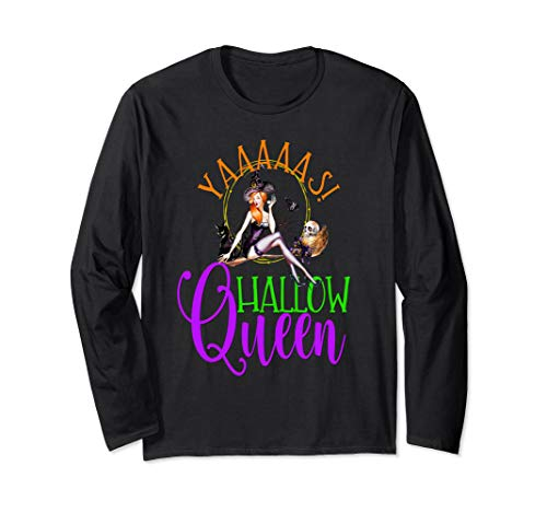 Sexy Pin Up Girl Halloween Witch Cat Yaaas Hallow Queen Langarmshirt