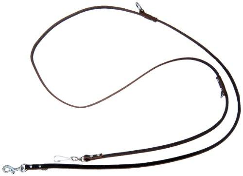 Heim 640139542 Vorführleine aus Leder,mit Bolzenhaken, 3-fach verstellbar, 10 mm breit, 220 cm  lang, braun