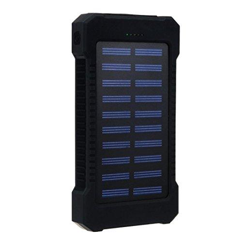 bescita Neu 30000mAh Dual USB tragbare Solar Ladegerät Solar Power Bank kompatibel mit iPhone, iPad, Samsung Galaxy und andere Smartphones (Schwarz)